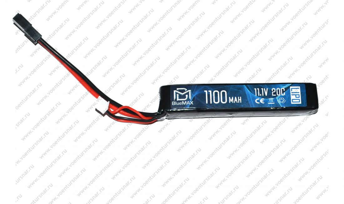 АКБ BlueMAX 11.1V Lipo 1100mAh 20C stick 14.5x21x102mm AUG, G36, М-серия цевье, MP40, АК под крышку